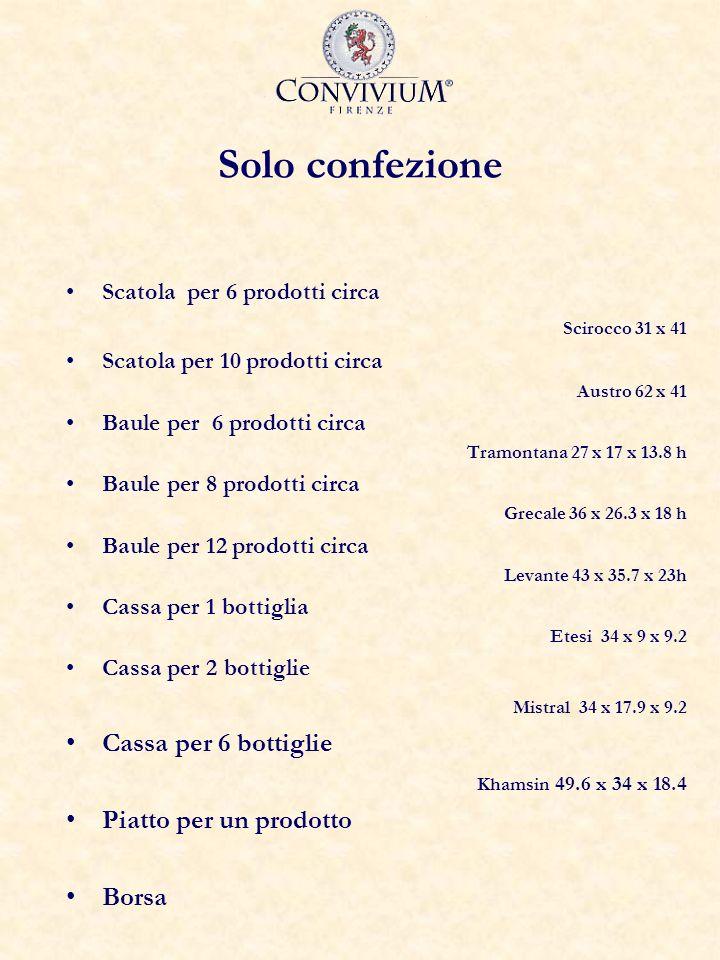 Solo confezione Scatola per 6 prodotti circa Scirocco 31 x 41 Scatola per 10 prodotti circa Austro 62 x 41 Baule per 6 prodotti circa Tramontana 27 x