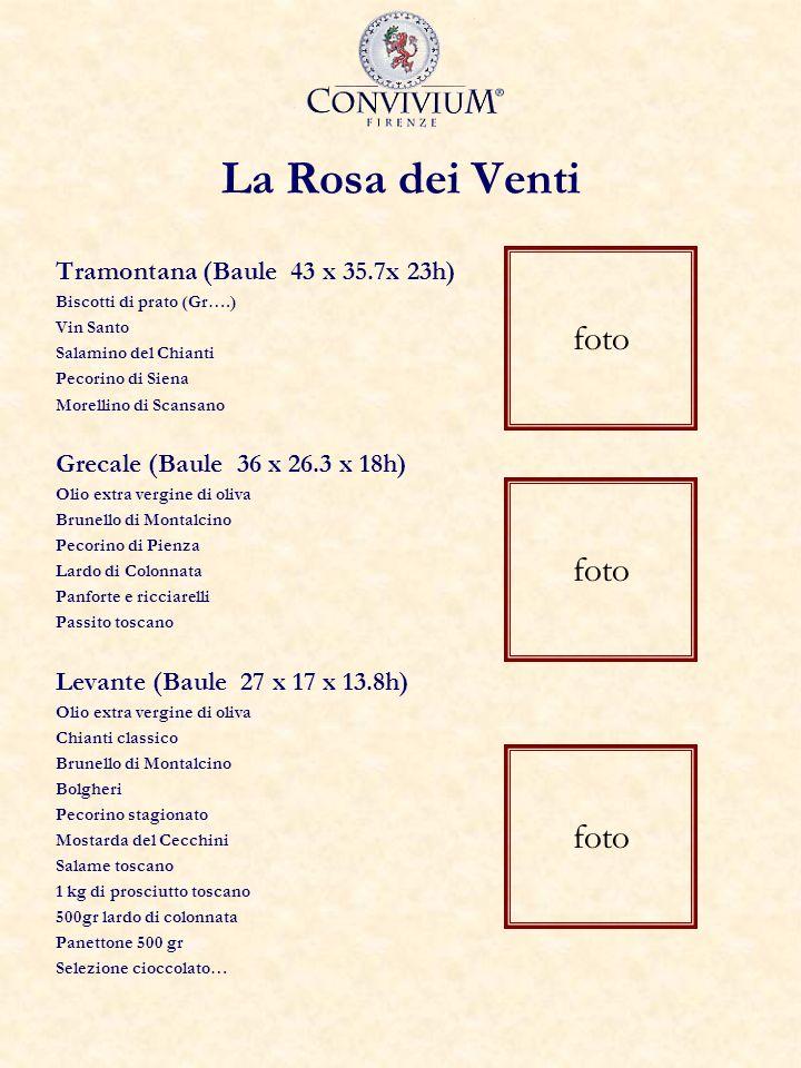 La Rosa dei Venti Tramontana (Baule 43 x 35.7x 23h) Biscotti di prato (Gr….) Vin Santo Salamino del Chianti Pecorino di Siena Morellino di Scansano Grecale (Baule 36 x 26.3 x 18h) Olio extra vergine di oliva Brunello di Montalcino Pecorino di Pienza Lardo di Colonnata Panforte e ricciarelli Passito toscano Levante (Baule 27 x 17 x 13.8h) Olio extra vergine di oliva Chianti classico Brunello di Montalcino Bolgheri Pecorino stagionato Mostarda del Cecchini Salame toscano 1 kg di prosciutto toscano 500gr lardo di colonnata Panettone 500 gr Selezione cioccolato… foto
