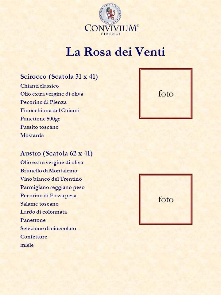 La Rosa dei Venti Scirocco (Scatola 31 x 41) Chianti classico Olio extra vergine di oliva Pecorino di Pienza Finocchiona del Chianti Panettone 500gr P