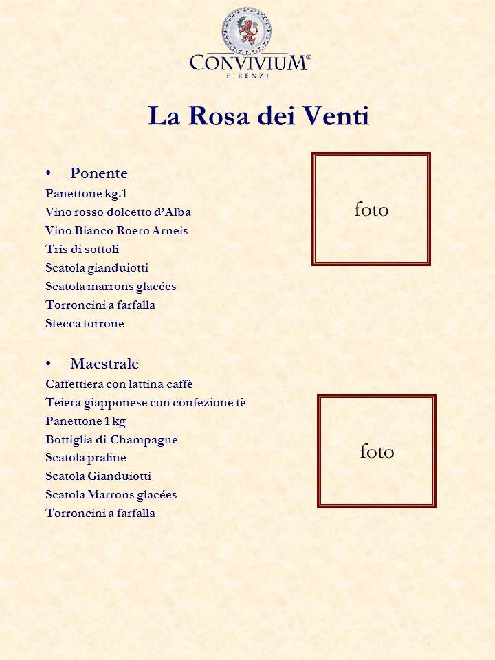 La Rosa dei Venti Ponente Panettone kg.1 Vino rosso dolcetto dAlba Vino Bianco Roero Arneis Tris di sottoli Scatola gianduiotti Scatola marrons glacée