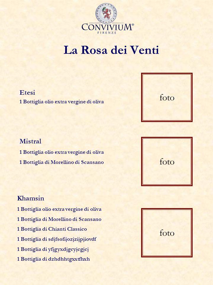 La Rosa dei Venti Etesi 1 Bottiglia olio extra vergine di oliva foto Khamsin 1 Bottiglia olio extra vergine di oliva 1 Bottiglia di Morellino di Scans