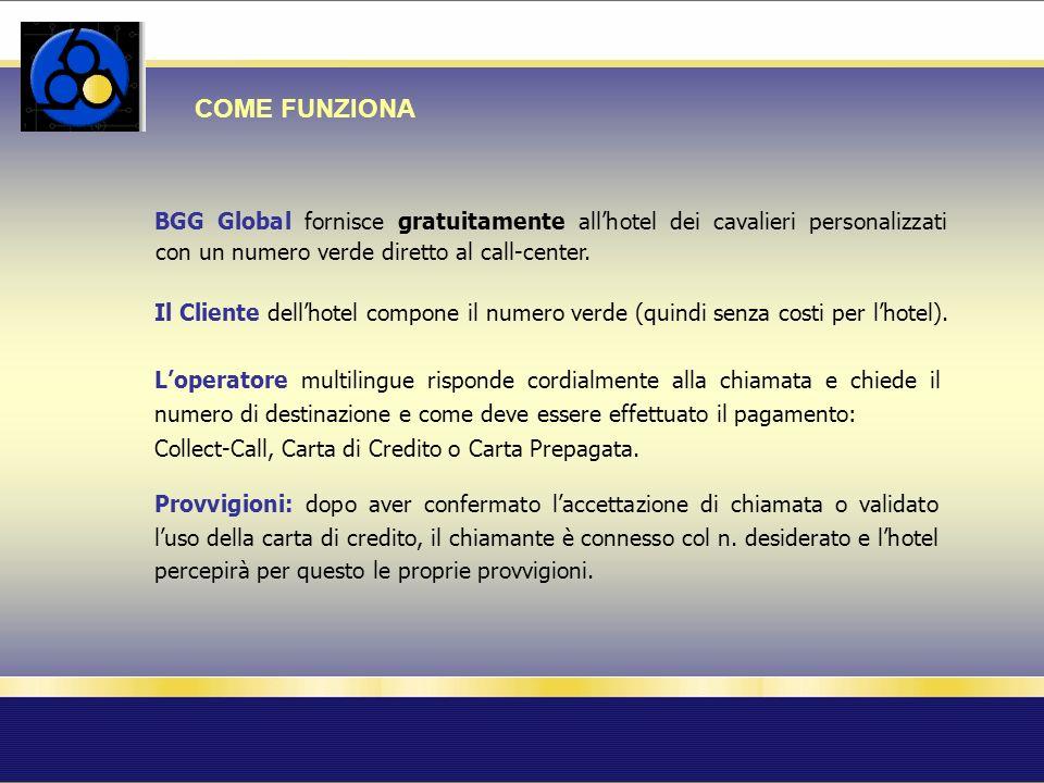 COME FUNZIONA BGG Global fornisce gratuitamente allhotel dei cavalieri personalizzati con un numero verde diretto al call-center. Il Cliente dellhotel