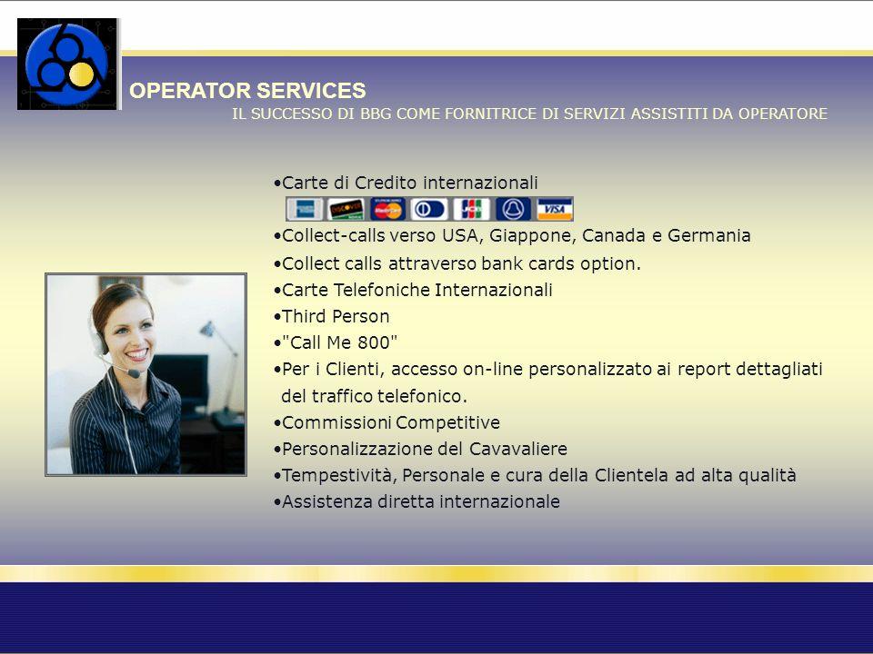 OPERATOR SERVICES IL SUCCESSO DI BBG COME FORNITRICE DI SERVIZI ASSISTITI DA OPERATORE Carte di Credito internazionali Collect-calls verso USA, Giappo
