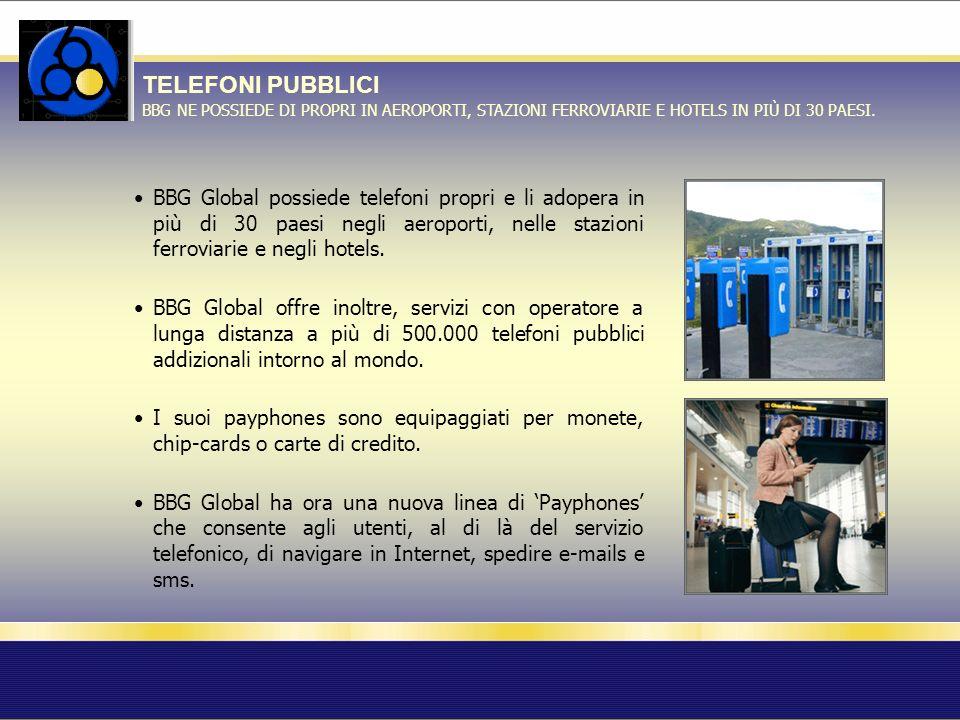 TELEFONI PUBBLICI BBG NE POSSIEDE DI PROPRI IN AEROPORTI, STAZIONI FERROVIARIE E HOTELS IN PIÙ DI 30 PAESI.