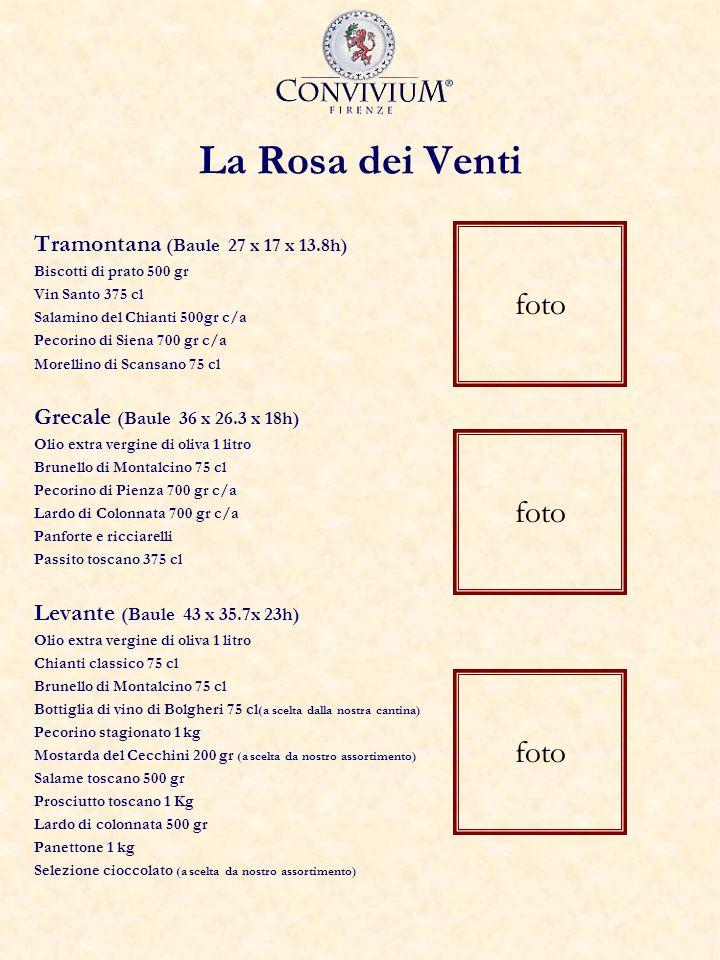 La Rosa dei Venti Tramontana (Baule 27 x 17 x 13.8h) Biscotti di prato 500 gr Vin Santo 375 cl Salamino del Chianti 500gr c/a Pecorino di Siena 700 gr c/a Morellino di Scansano 75 cl Grecale (Baule 36 x 26.3 x 18h) Olio extra vergine di oliva 1 litro Brunello di Montalcino 75 cl Pecorino di Pienza 700 gr c/a Lardo di Colonnata 700 gr c/a Panforte e ricciarelli Passito toscano 375 cl Levante (Baule 43 x 35.7x 23h) Olio extra vergine di oliva 1 litro Chianti classico 75 cl Brunello di Montalcino 75 cl Bottiglia di vino di Bolgheri 75 cl (a scelta dalla nostra cantina) Pecorino stagionato 1 kg Mostarda del Cecchini 200 gr (a scelta da nostro assortimento) Salame toscano 500 gr Prosciutto toscano 1 Kg Lardo di colonnata 500 gr Panettone 1 kg Selezione cioccolato (a scelta da nostro assortimento) foto