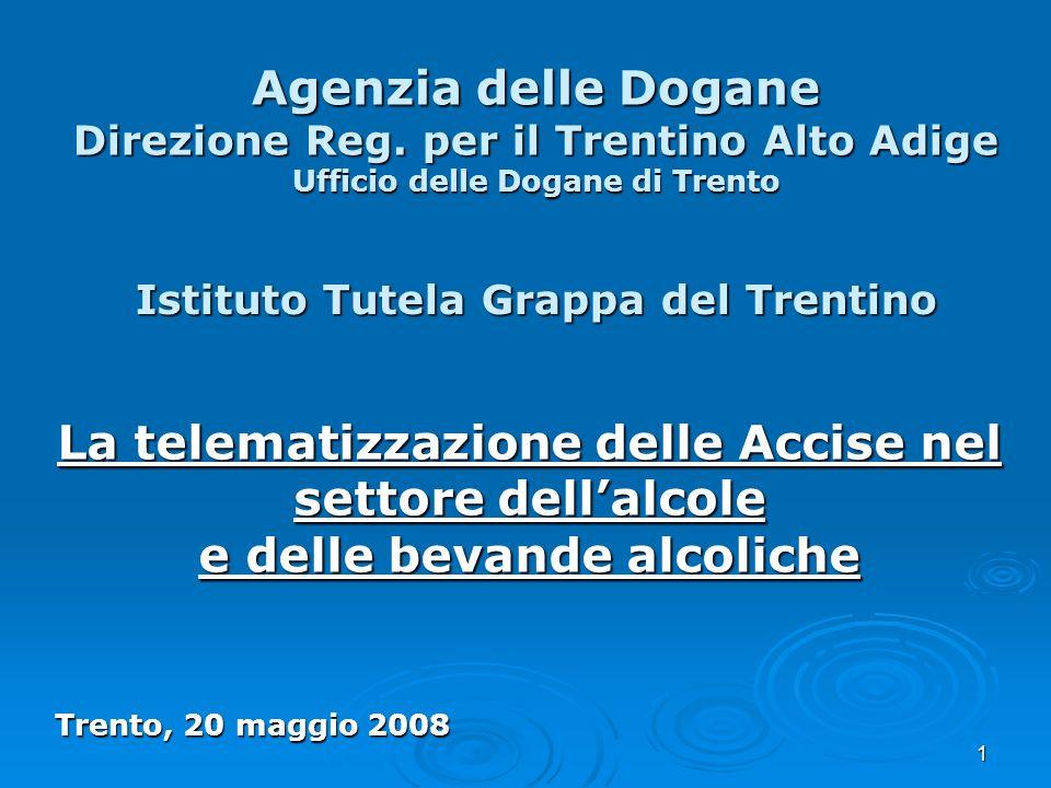 1 Agenzia delle Dogane Direzione Reg. per il Trentino Alto Adige Ufficio delle Dogane di Trento La telematizzazione delle Accise nel settore dellalcol