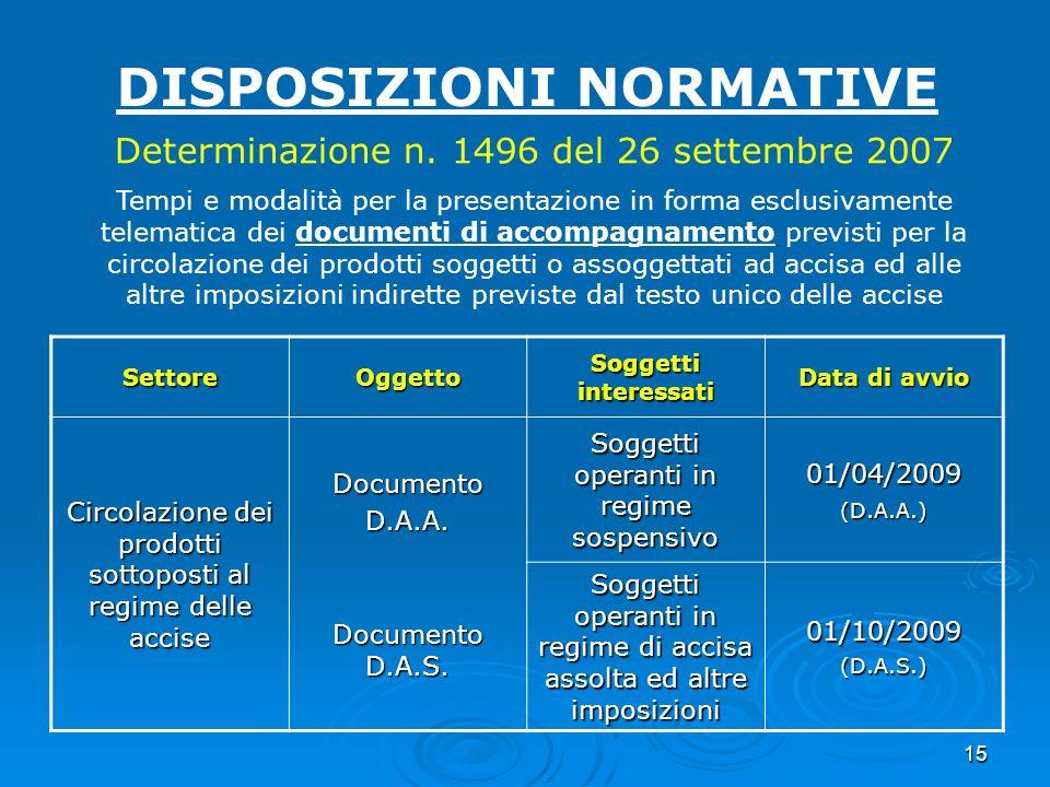 15 DISPOSIZIONI NORMATIVE Determinazione n. 1496 del 26 settembre 2007 Tempi e modalità per la presentazione in forma esclusivamente telematica dei do