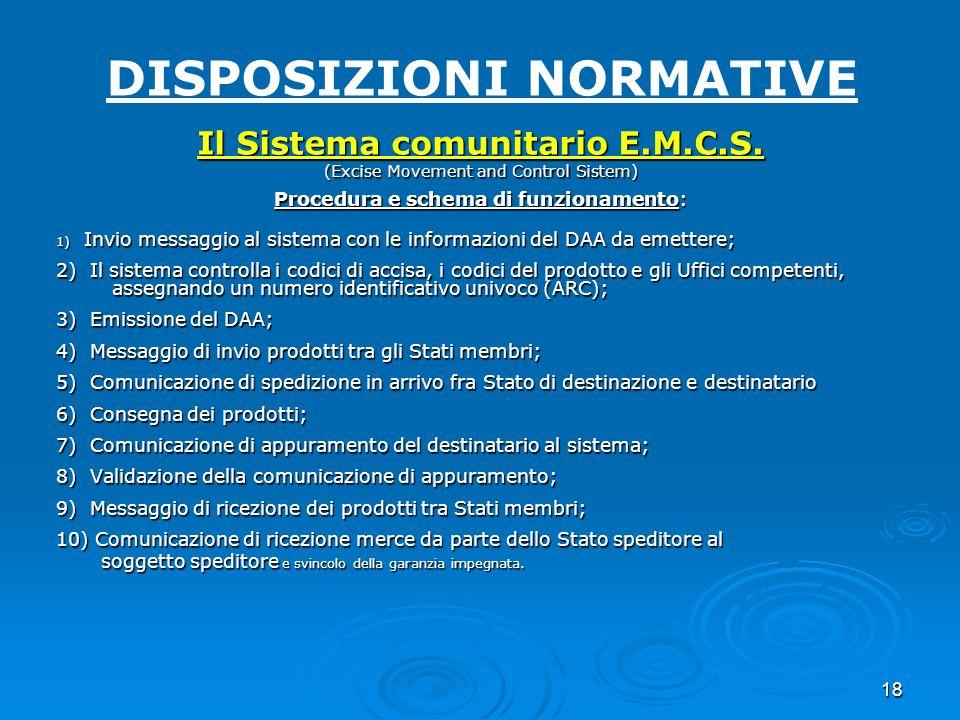 18 DISPOSIZIONI NORMATIVE Il Sistema comunitario E.M.C.S. (Excise Movement and Control Sistem) Procedura e schema di funzionamento: 1) Invio messaggio
