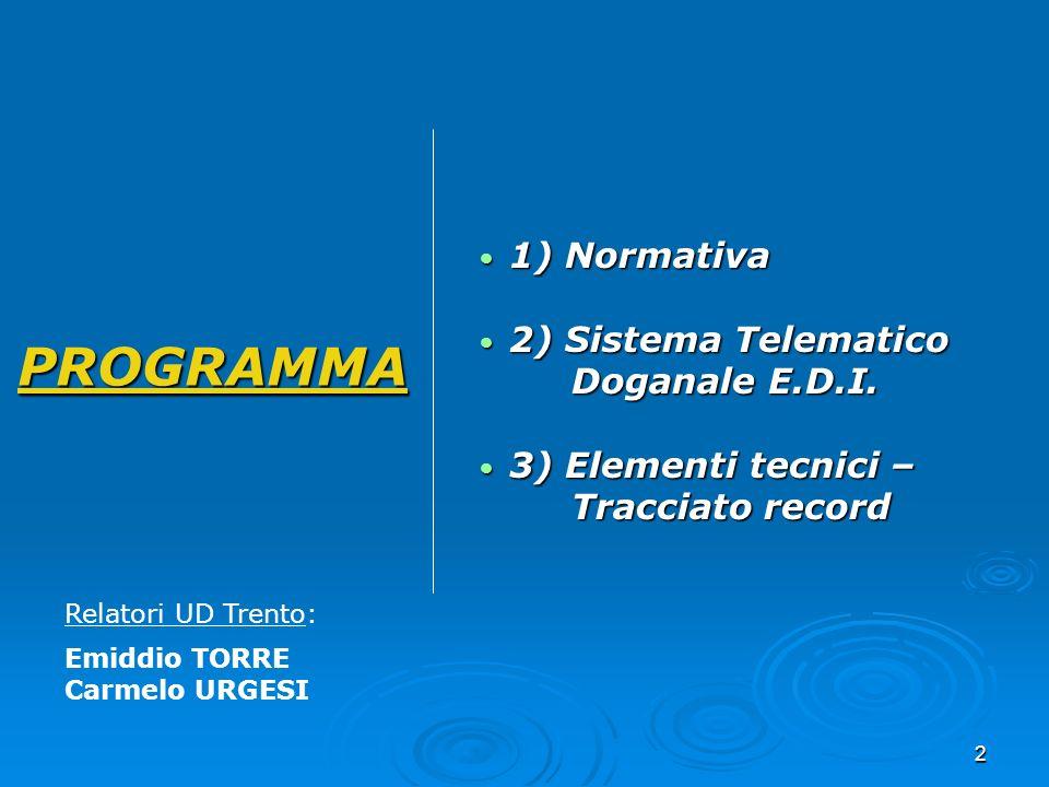 2 PROGRAMMA 1) Normativa 1) Normativa 2) Sistema Telematico Doganale E.D.I. 2) Sistema Telematico Doganale E.D.I. 3) Elementi tecnici – Tracciato reco