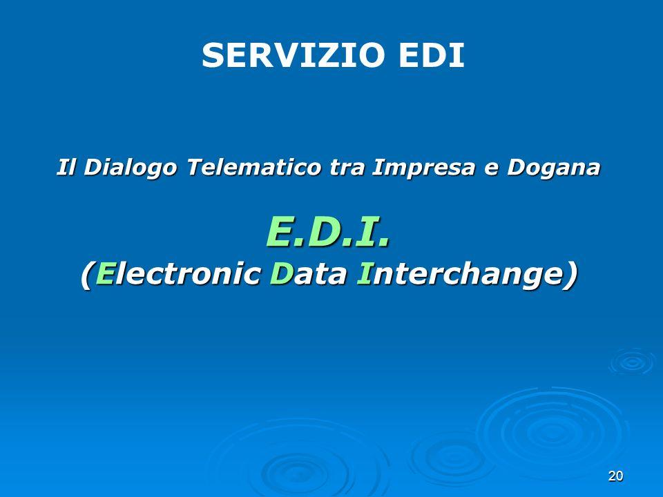 20 SERVIZIO EDI Il Dialogo Telematico tra Impresa e Dogana E.D.I. (Electronic Data Interchange)