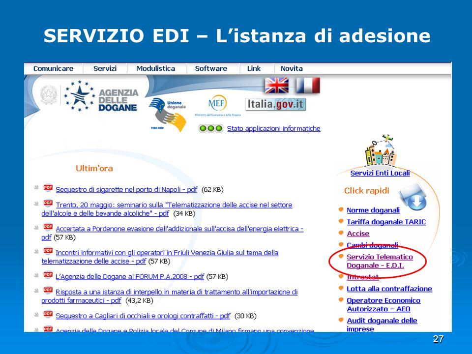 27 SERVIZIO EDI – Listanza di adesione