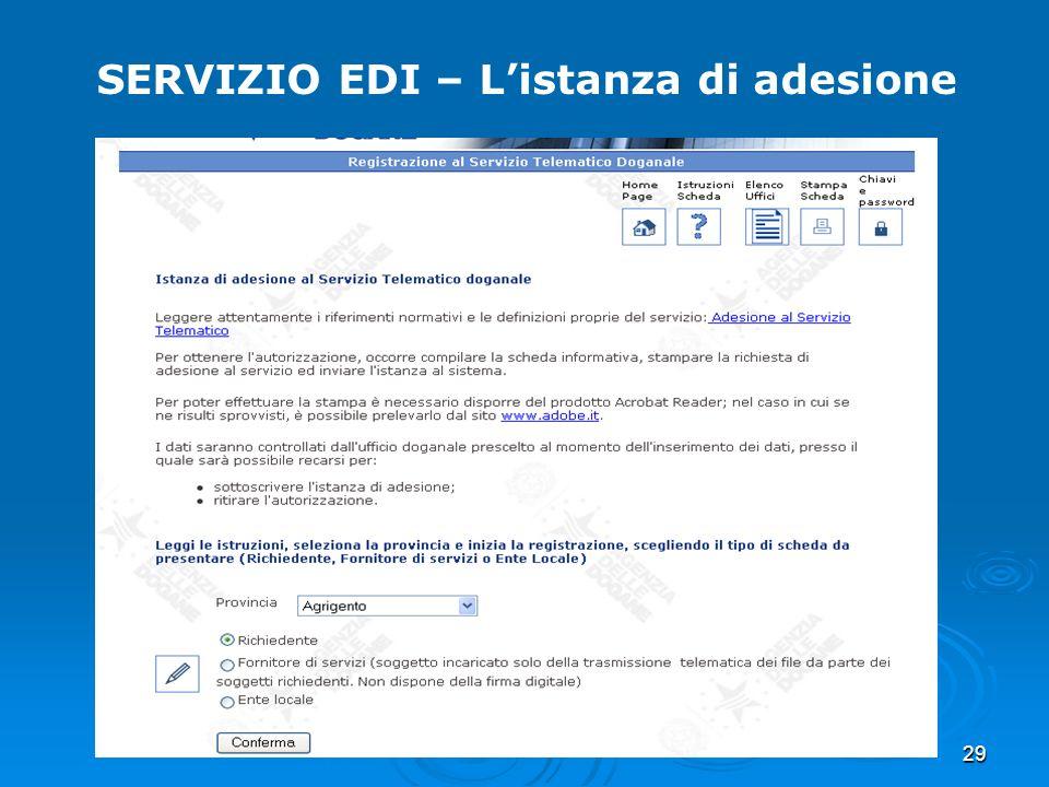 29 SERVIZIO EDI – Listanza di adesione