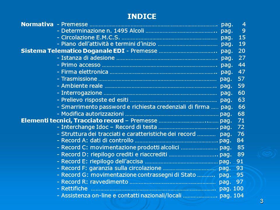 3 INDICE Normativa - Premesse ……………………………………………………………………… …. pag. 4 - Determinazione n. 1495 Alcoli ……………………………………….. pag. 9 - Circolazione E.M.C.S. …