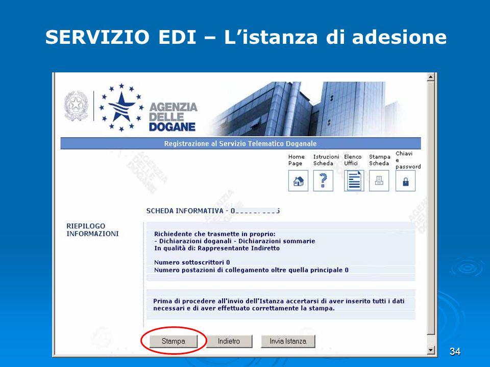 34 SERVIZIO EDI – Listanza di adesione