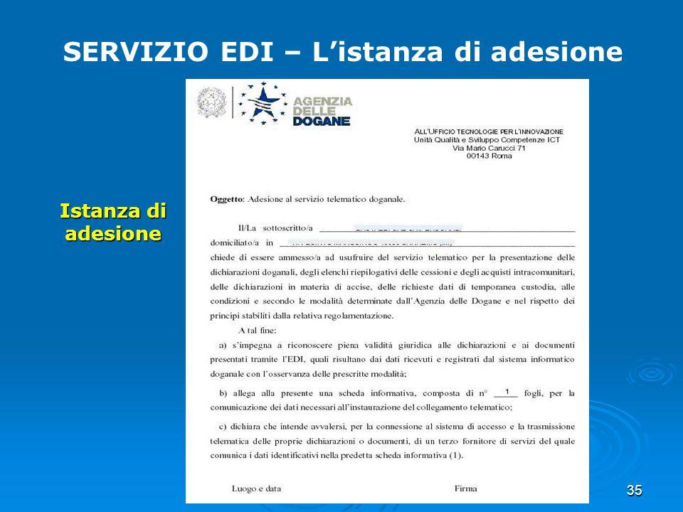 35 SERVIZIO EDI – Listanza di adesione Istanza di adesione
