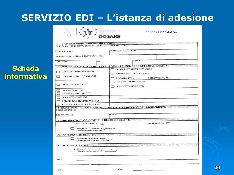 36 SERVIZIO EDI – Listanza di adesione Scheda informativa