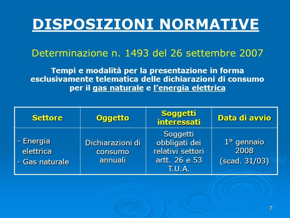 7 DISPOSIZIONI NORMATIVE Determinazione n. 1493 del 26 settembre 2007 Tempi e modalità per la presentazione in forma esclusivamente telematica delle d