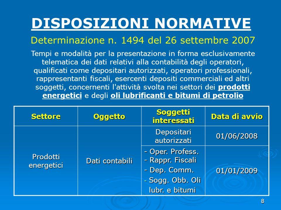 8 DISPOSIZIONI NORMATIVE Determinazione n. 1494 del 26 settembre 2007 Tempi e modalità per la presentazione in forma esclusivamente telematica dei dat