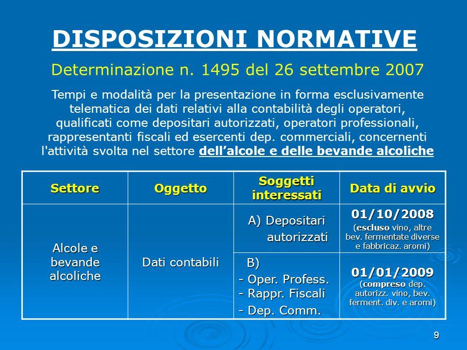 9 DISPOSIZIONI NORMATIVE Determinazione n. 1495 del 26 settembre 2007 Tempi e modalità per la presentazione in forma esclusivamente telematica dei dat