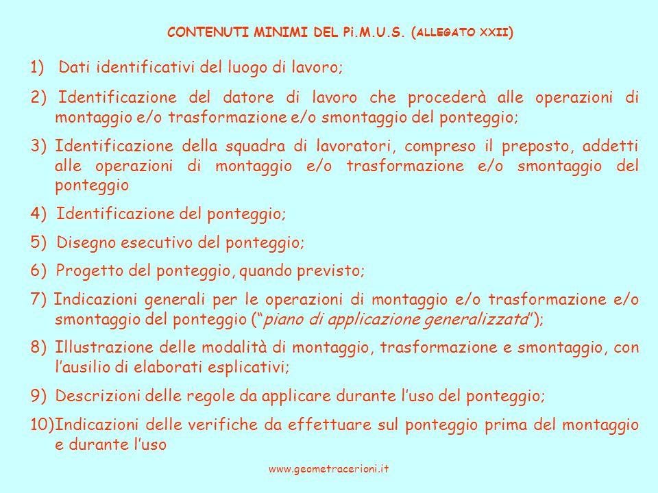 CONTENUTI MINIMI DEL Pi.M.U.S. ( ALLEGATO XXII ) www.geometracerioni.it 1) Dati identificativi del luogo di lavoro; 2) Identificazione del datore di l