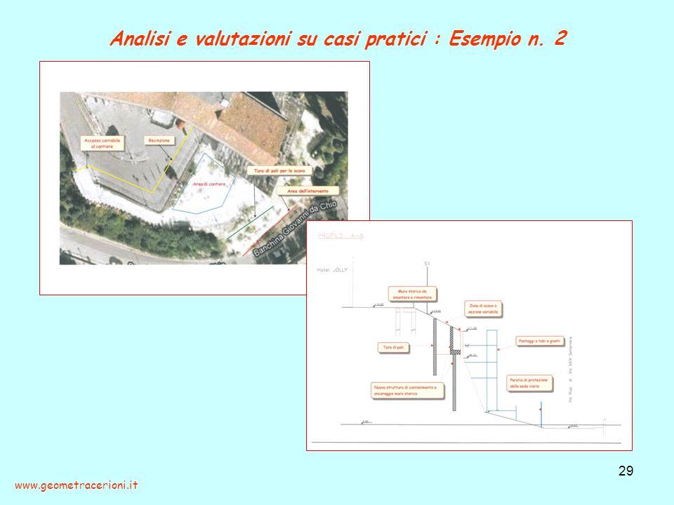 Analisi e valutazioni su casi pratici : Esempio n. 2 29 www.geometracerioni.it