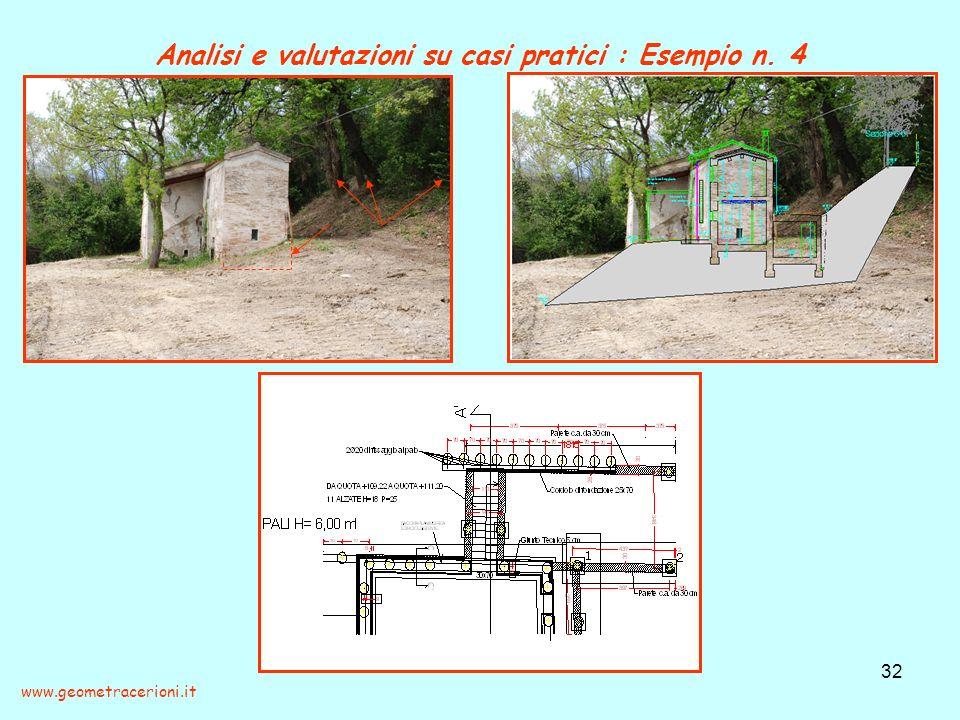 Analisi e valutazioni su casi pratici : Esempio n. 4 32 www.geometracerioni.it