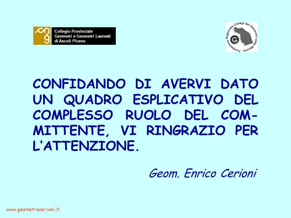 Geom. Enrico Cerioni www.geometracerioni.it Collegio Provinciale Geometri e Geometri Laureati di Ascoli Piceno CONFIDANDO DI AVERVI DATO UN QUADRO ESP