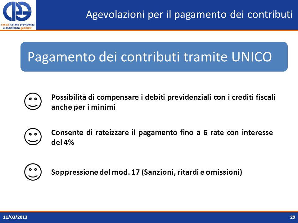 Agevolazioni per il pagamento dei contributi 2911/03/2013 Pagamento dei contributi tramite UNICO Possibilità di compensare i debiti previdenziali con