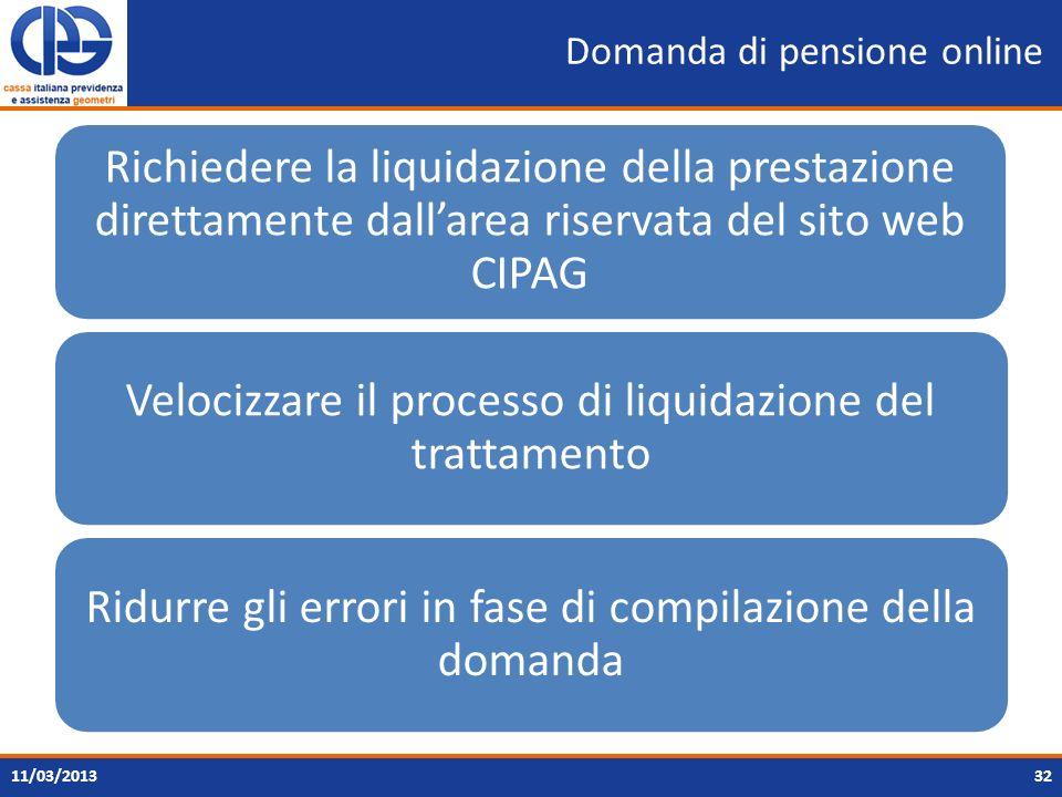 Domanda di pensione online 32 Richiedere la liquidazione della prestazione direttamente dallarea riservata del sito web CIPAG Velocizzare il processo