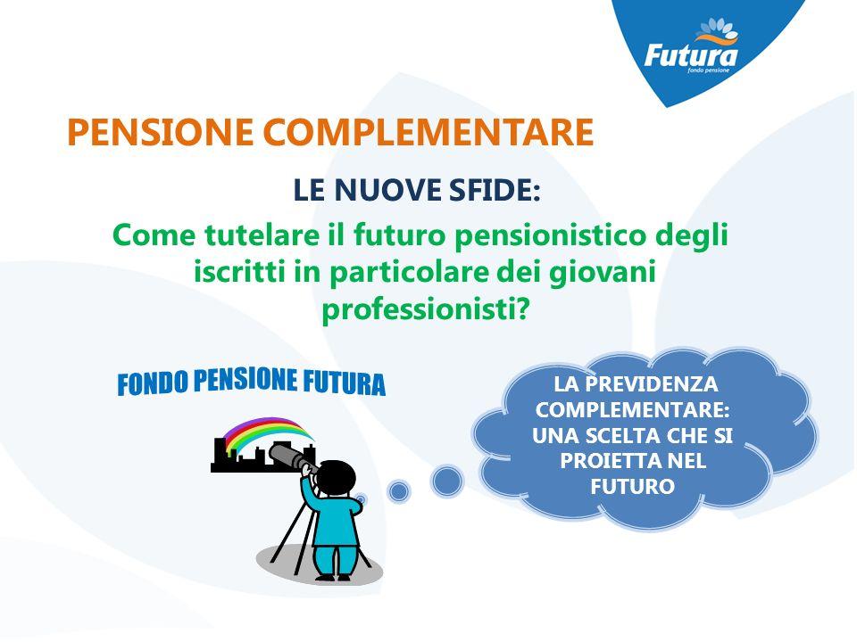 LE NUOVE SFIDE: Come tutelare il futuro pensionistico degli iscritti in particolare dei giovani professionisti? LA PREVIDENZA COMPLEMENTARE: UNA SCELT