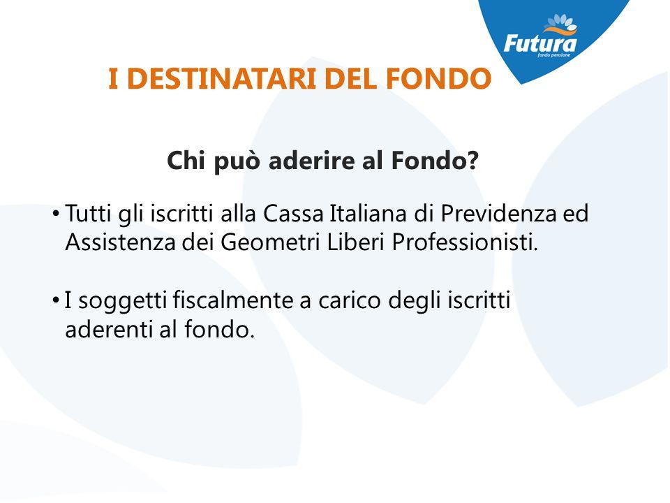 I DESTINATARI DEL FONDO Chi può aderire al Fondo? Tutti gli iscritti alla Cassa Italiana di Previdenza ed Assistenza dei Geometri Liberi Professionist