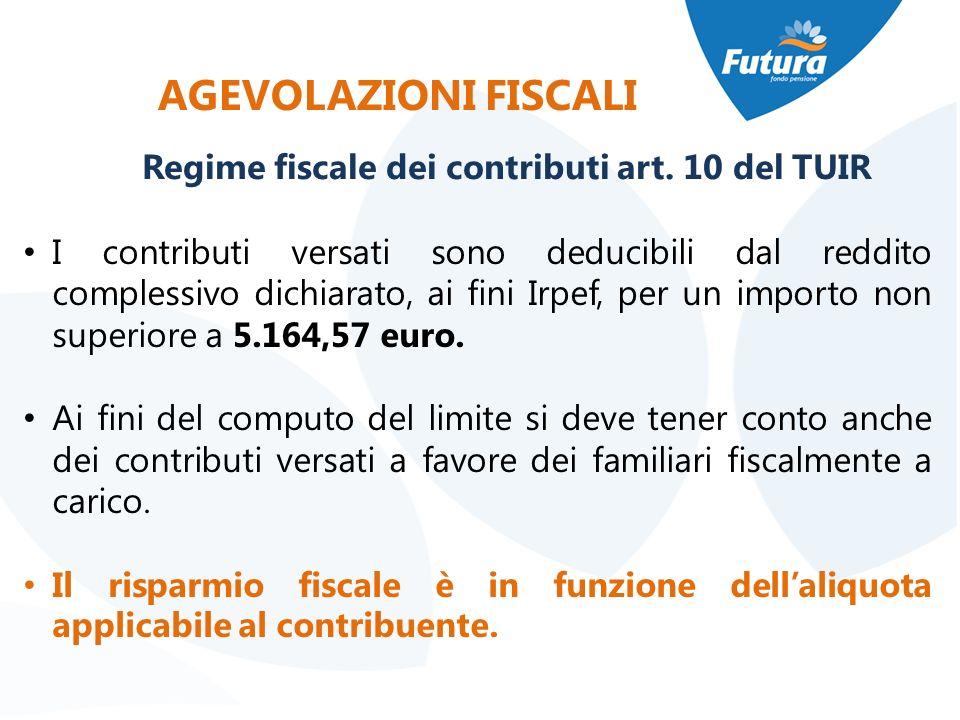 AGEVOLAZIONI FISCALI I contributi versati sono deducibili dal reddito complessivo dichiarato, ai fini Irpef, per un importo non superiore a 5.164,57 e