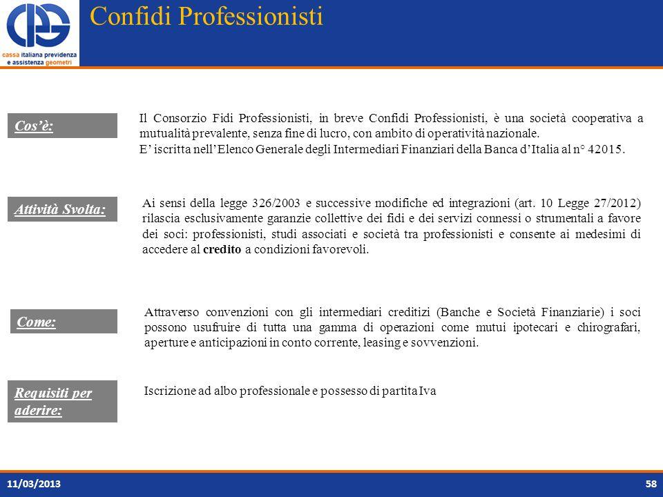 Confidi Professionisti 11/03/2013 Il Consorzio Fidi Professionisti, in breve Confidi Professionisti, è una società cooperativa a mutualità prevalente,