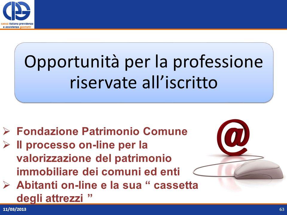 63 Opportunità per la professione riservate alliscritto 11/03/2013 Fondazione Patrimonio Comune Il processo on-line per la valorizzazione del patrimon