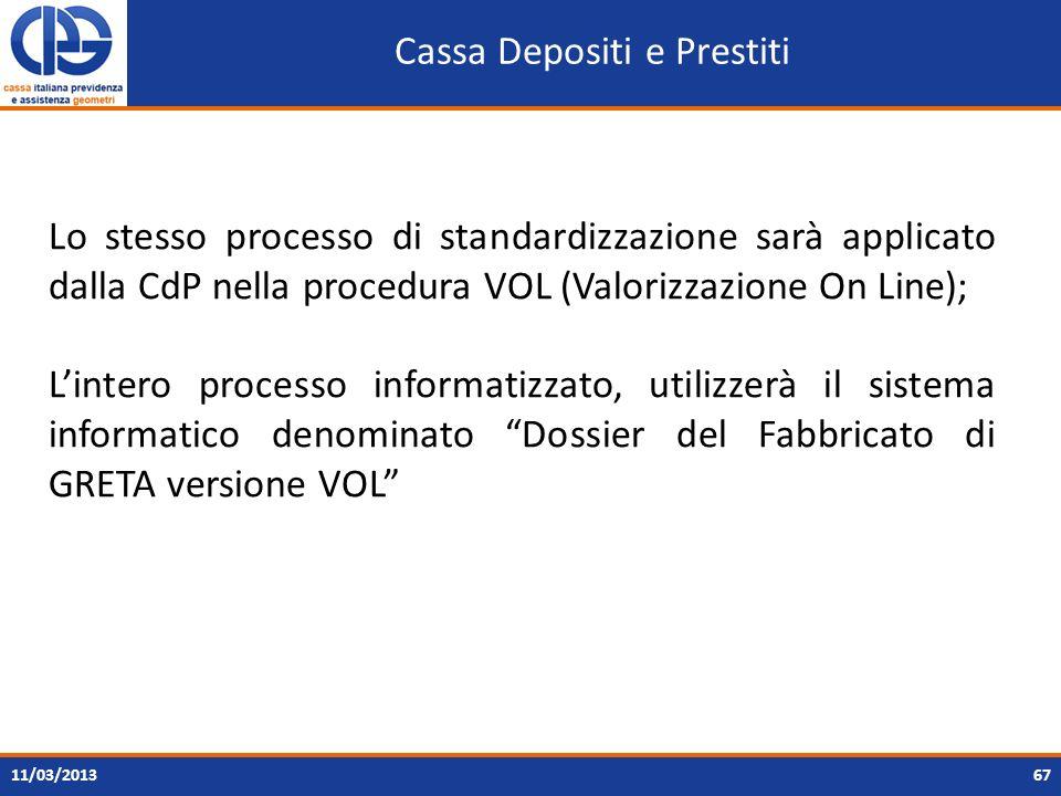 Cassa Depositi e Prestiti 6711/03/2013 Lo stesso processo di standardizzazione sarà applicato dalla CdP nella procedura VOL (Valorizzazione On Line);