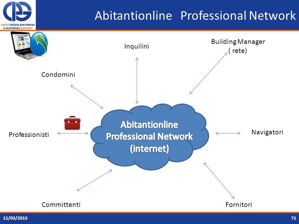 7111/03/2013 Inquilini Building Manager ( rete) FornitoriCommittenti Condomini Abitantionline Professional Network Professionisti Navigatori