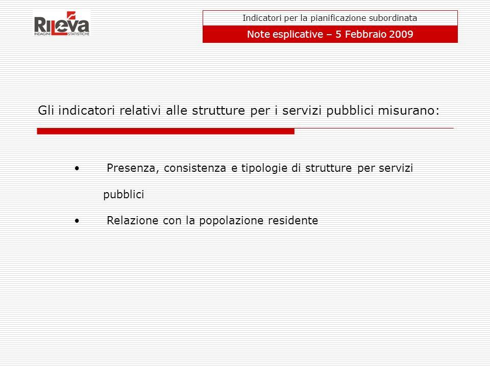 Gli indicatori relativi alle strutture per i servizi pubblici misurano: Indicatori per la pianificazione subordinata Note esplicative – 5 Febbraio 200