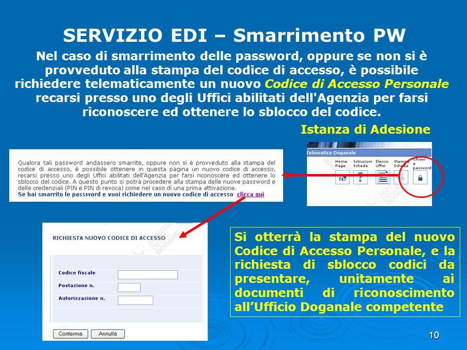 10 SERVIZIO EDI – Smarrimento PW Nel caso di smarrimento delle password, oppure se non si è provveduto alla stampa del codice di accesso, è possibile
