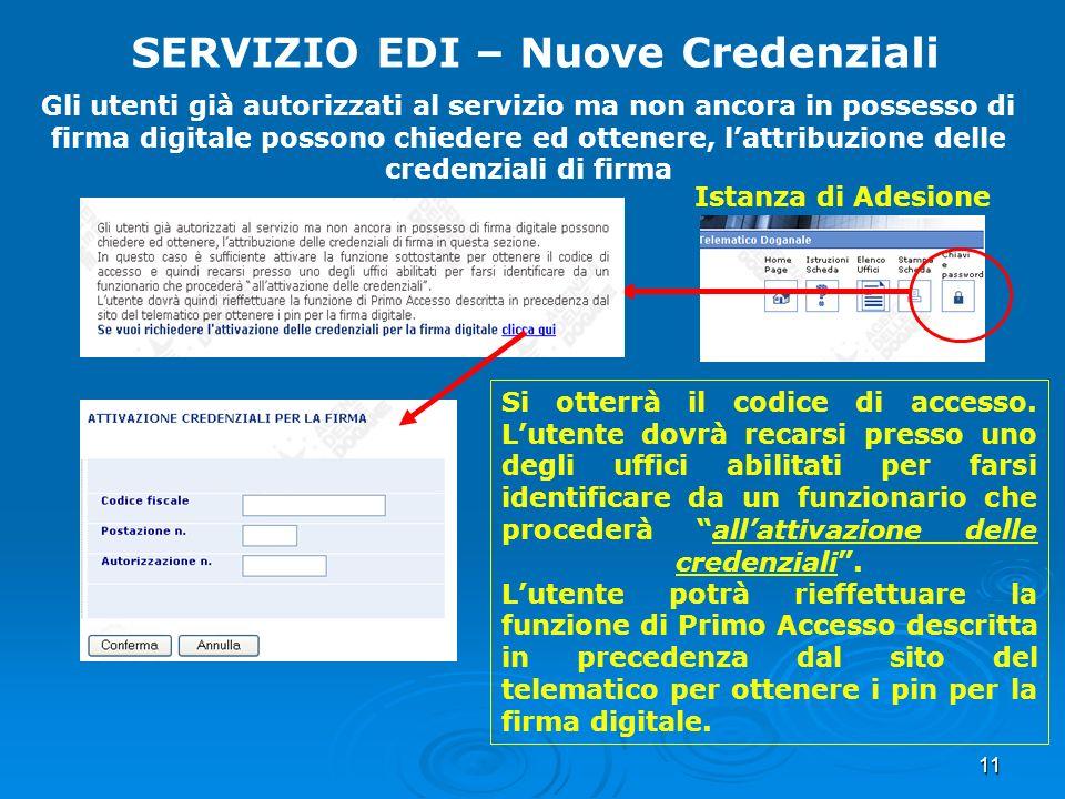 11 SERVIZIO EDI – Nuove Credenziali Gli utenti già autorizzati al servizio ma non ancora in possesso di firma digitale possono chiedere ed ottenere, l
