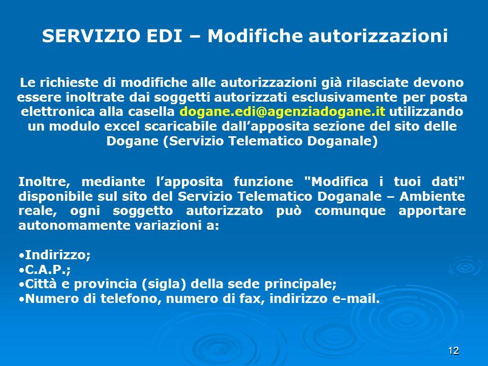 12 SERVIZIO EDI – Modifiche autorizzazioni Le richieste di modifiche alle autorizzazioni già rilasciate devono essere inoltrate dai soggetti autorizza