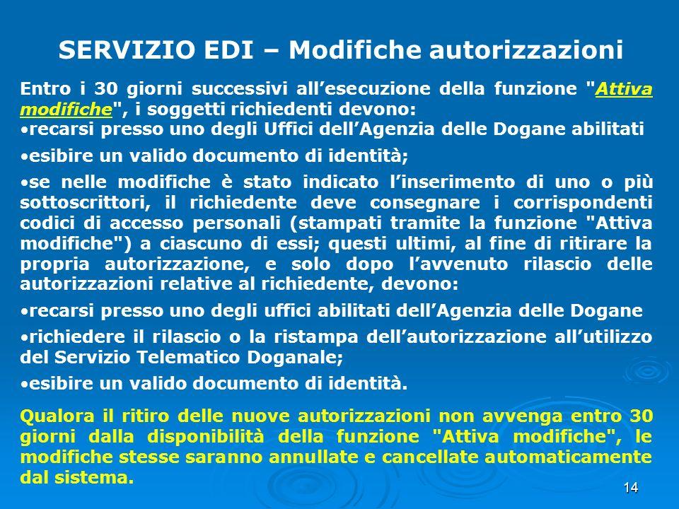 14 SERVIZIO EDI – Modifiche autorizzazioni Entro i 30 giorni successivi allesecuzione della funzione