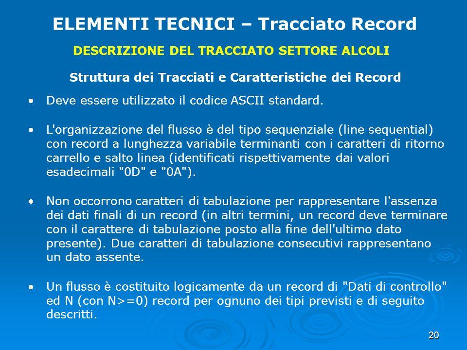 20 ELEMENTI TECNICI – Tracciato Record DESCRIZIONE DEL TRACCIATO SETTORE ALCOLI Struttura dei Tracciati e Caratteristiche dei Record Deve essere utili