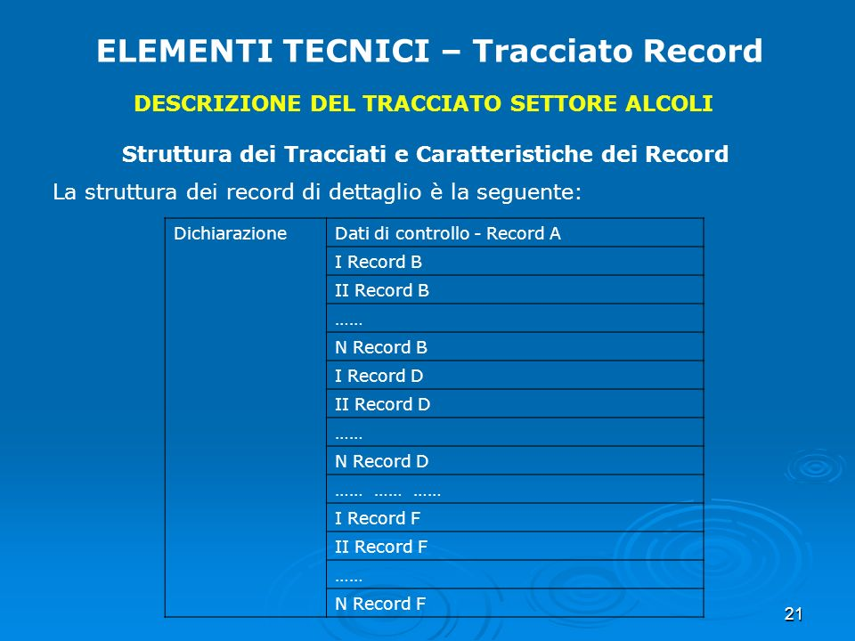 21 ELEMENTI TECNICI – Tracciato Record DESCRIZIONE DEL TRACCIATO SETTORE ALCOLI Struttura dei Tracciati e Caratteristiche dei Record La struttura dei