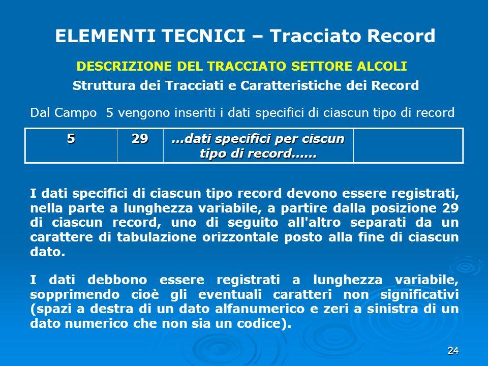 24 ELEMENTI TECNICI – Tracciato Record DESCRIZIONE DEL TRACCIATO SETTORE ALCOLI Struttura dei Tracciati e Caratteristiche dei Record Dal Campo 5 vengo