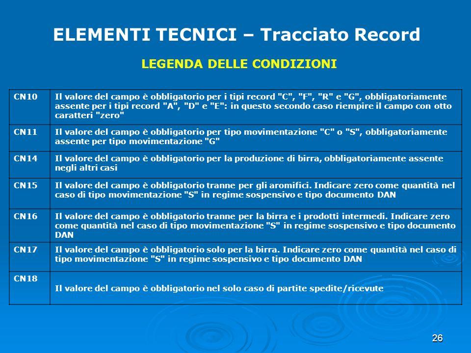 26 ELEMENTI TECNICI – Tracciato Record LEGENDA DELLE CONDIZIONI CN10Il valore del campo è obbligatorio per i tipi record