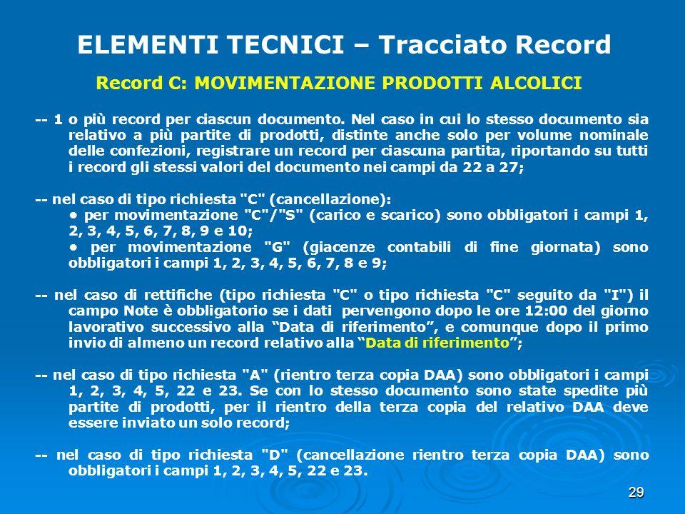 29 ELEMENTI TECNICI – Tracciato Record -- 1 o più record per ciascun documento. Nel caso in cui lo stesso documento sia relativo a più partite di prod