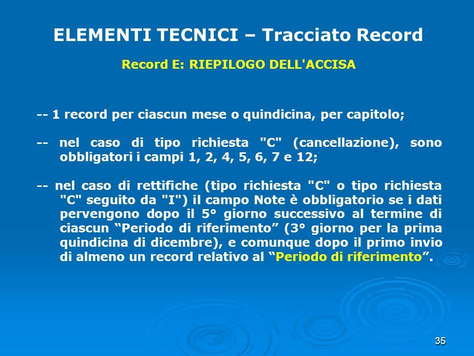 35 ELEMENTI TECNICI – Tracciato Record Record E: RIEPILOGO DELL'ACCISA -- 1 record per ciascun mese o quindicina, per capitolo; -- nel caso di tipo ri