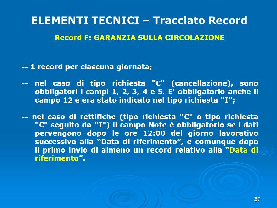 37 ELEMENTI TECNICI – Tracciato Record Record F: GARANZIA SULLA CIRCOLAZIONE -- 1 record per ciascuna giornata; -- nel caso di tipo richiesta