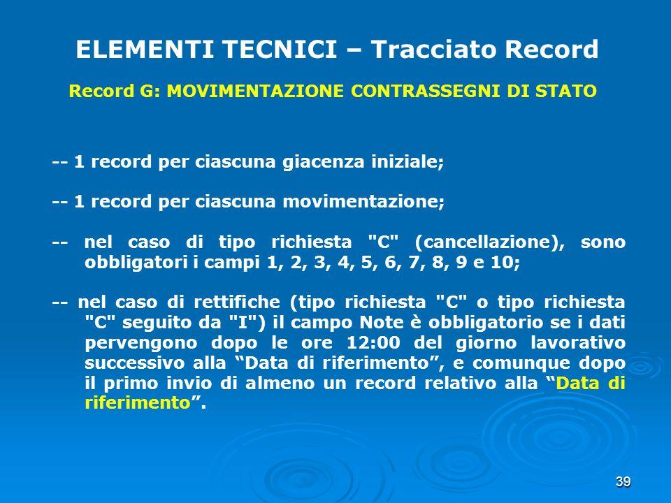 39 ELEMENTI TECNICI – Tracciato Record Record G: MOVIMENTAZIONE CONTRASSEGNI DI STATO -- 1 record per ciascuna giacenza iniziale; -- 1 record per cias