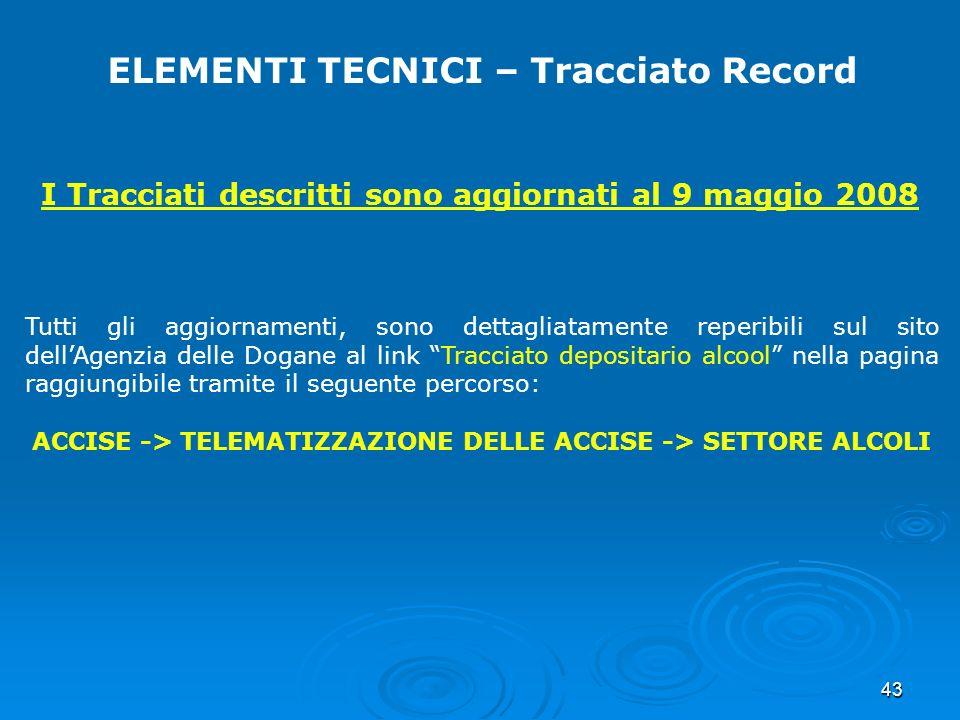 43 ELEMENTI TECNICI – Tracciato Record I Tracciati descritti sono aggiornati al 9 maggio 2008 Tutti gli aggiornamenti, sono dettagliatamente reperibil